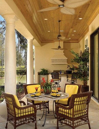 Wonderful Southern Porch With High Ceiling And Wicker Furniture, Ecclestone Signature  Homes, Marc Michaels Interior Design, Inc.