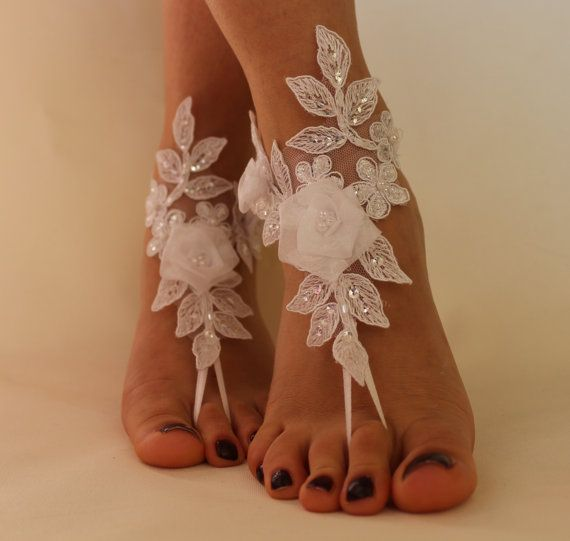 99d4c8f933e0 FREE SHİPP White Lace Barefoot Sandals Wedding by byPassion Lace Bridal  Shoes