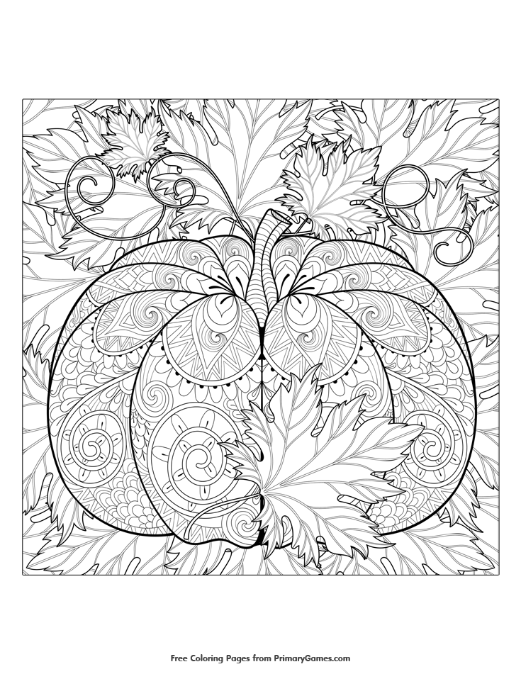 Fall Coloring Pages eBook: Pumpkin and Leaves | Free printable, Free ...