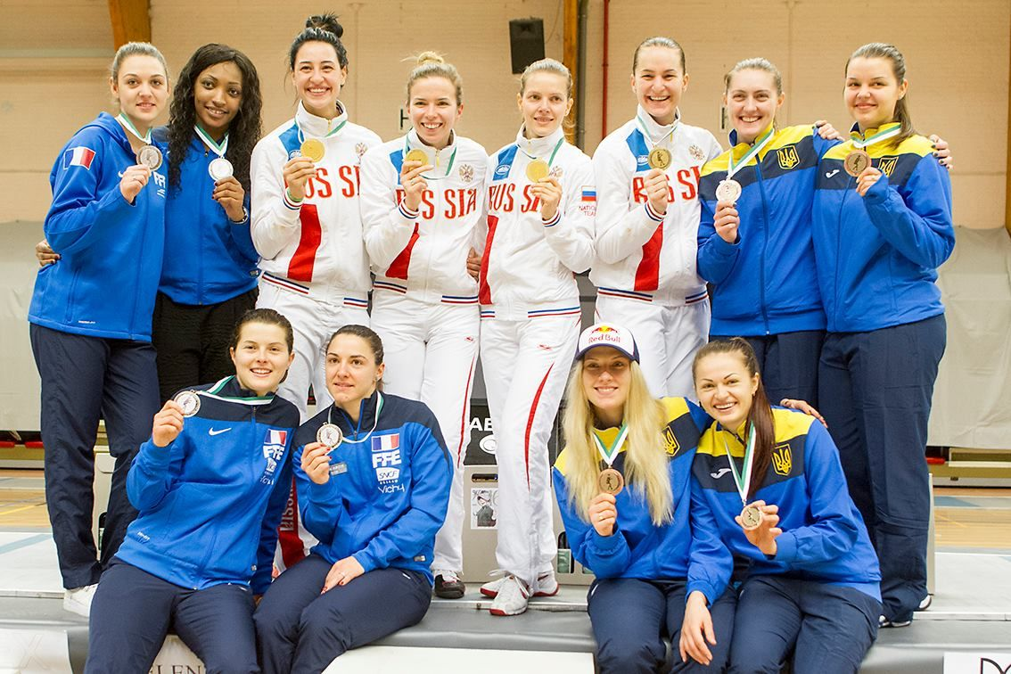 St. Niklaas SGK Sabre  World Cup 2016 team podium: Gold RUSSIA, Silver FRANCE and Bronze UKRAINE (Photo: Luc GEVAERT)