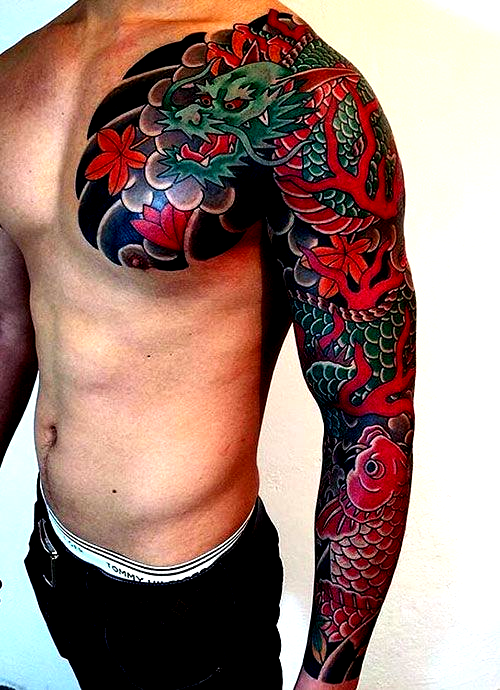 Japanese Dragon Full Sleeve Chest Tattoo Best Japanese Tattoos For Men Cool Japanese Style In 2020 Japanese Tattoos For Men Dragon Tattoos For Men Tattoo Sleeve Men