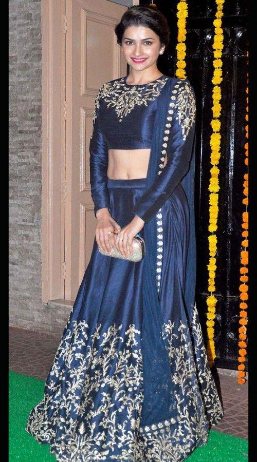 288de41d0f Dark Blue Raw Silk Prachi Desai Bollywood Lehenga Choli With Dupatta