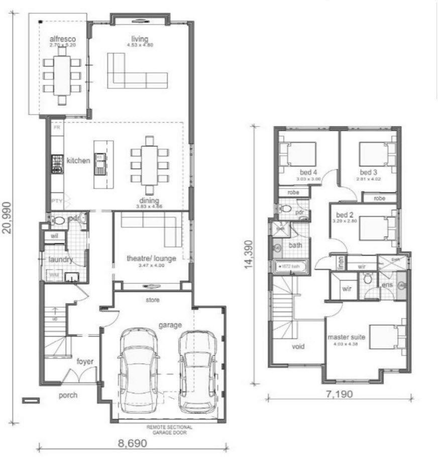 planos de casas de 2 pisos 2 habitaciones