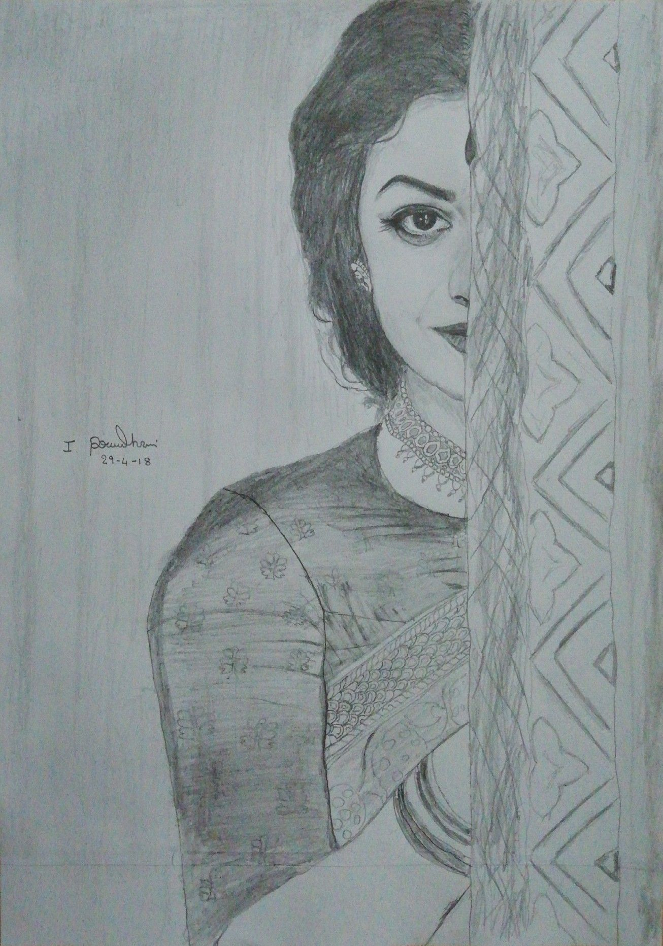 Keerthi suresh pencil sketch