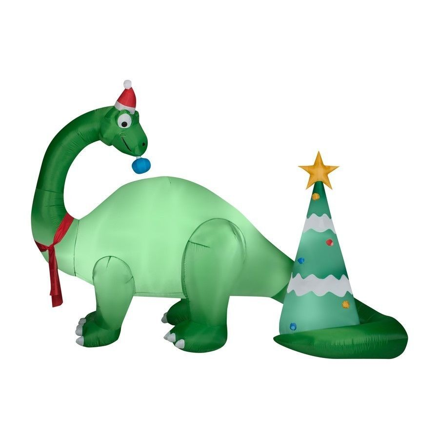 Gemmy 7-ft Lighted DINOSAUR W/ DECORTED TREE Christmas Inflatable ...