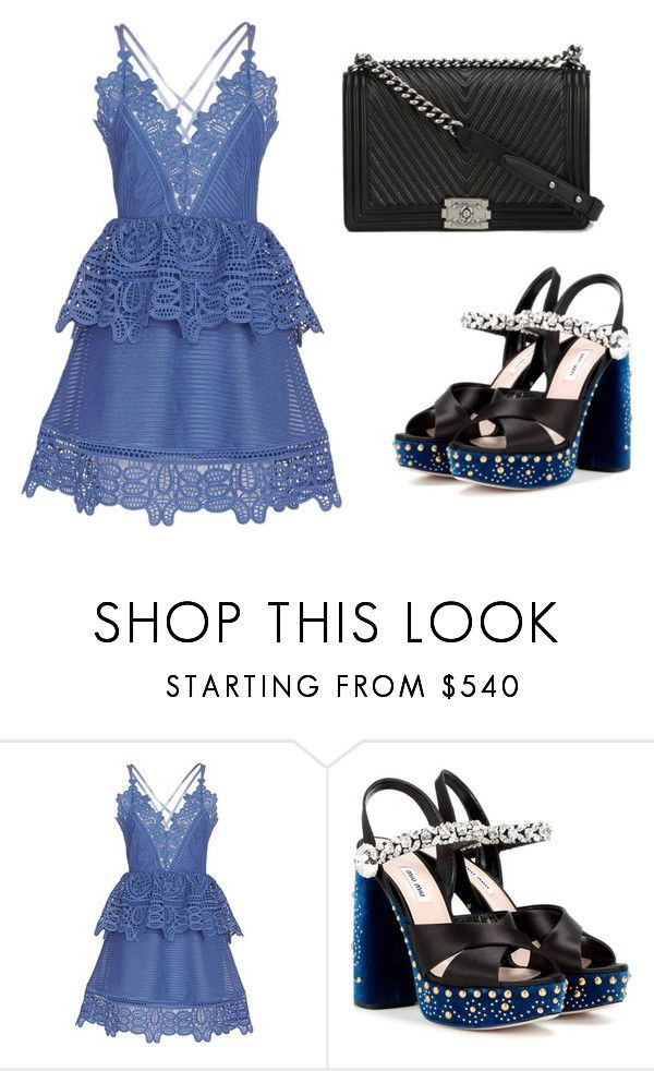 """""""Untitled #1539"""" by rosechicgeorgia ❤ liked on Polyvore featuring self-portrait, Miu Miu and Chanel"""