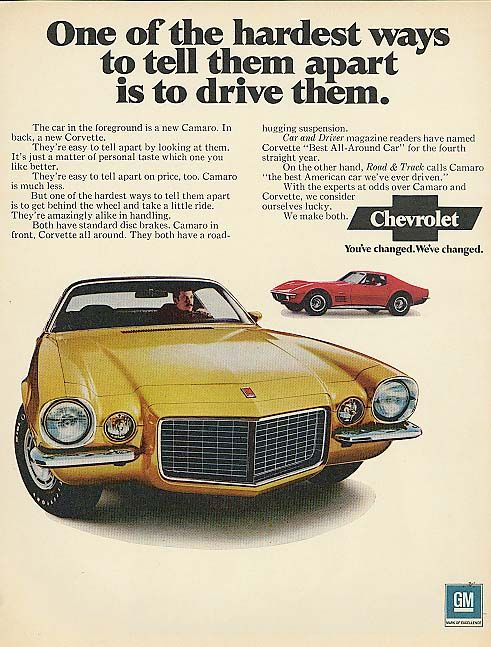 1971 Chevrolet Camaro Coupe Rs Rally Sport And Corvette