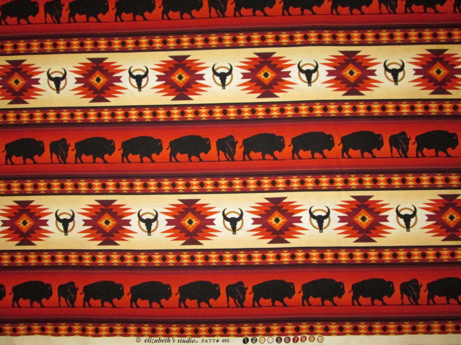 Navajo Indian Totem Horse Border Terracotta Black Cotton Fabric BTHY