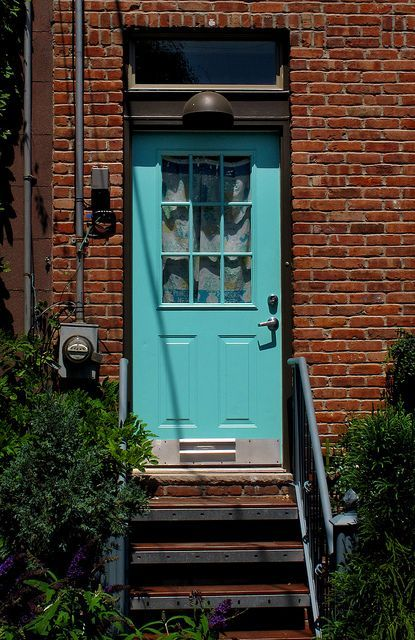stately brick house with colorful door - - Yahoo Image Search