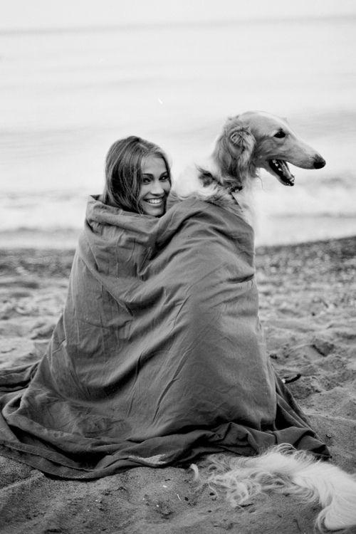 Beach blanket Borzoi.