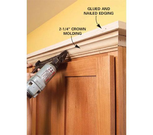 31 easy diy upgrades that will make your home look more expensive   add molding   shelving to the top of your kitchen cabinets  builder grade oak kitchen cabinets molding   google search   decor      rh   pinterest com