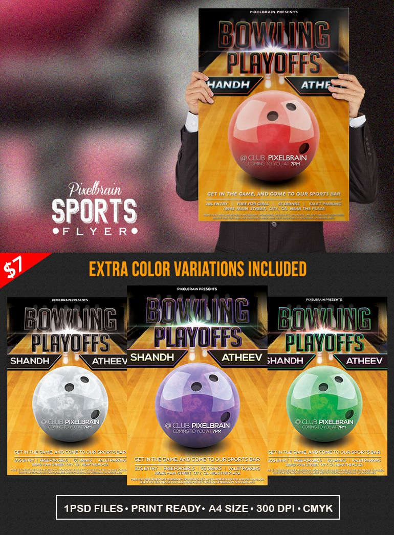 Bowling Flyerposter Vol 4 Download Flyer Design Pinterest