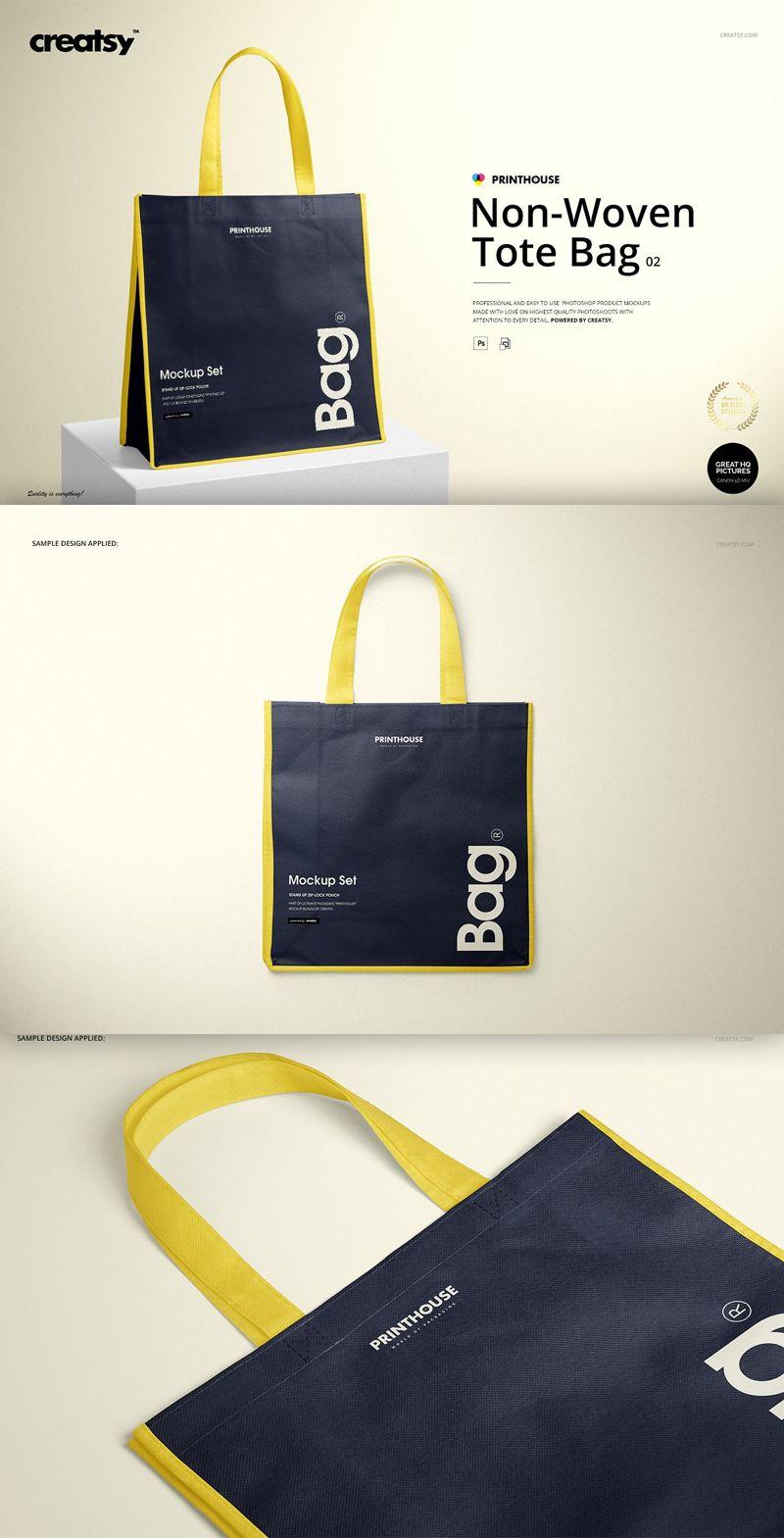 Download Non Woven Tote Bag 2 Mockup Set Woven Tote Bag Shopping Bag Design Tote Bag