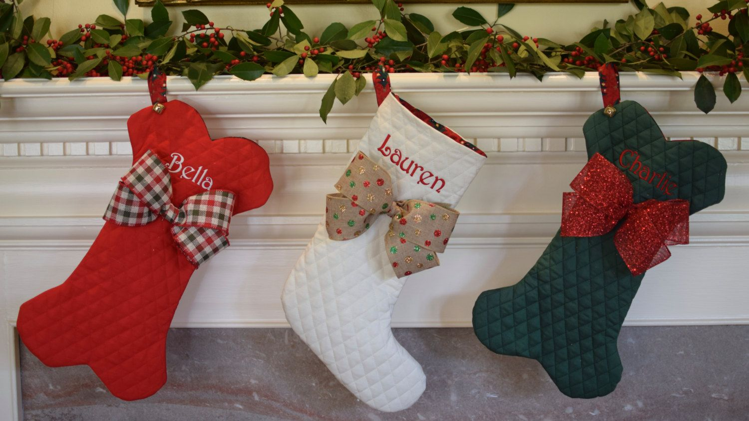 dog bone christmas stockings traditional too personalized pet fish with jingle bell
