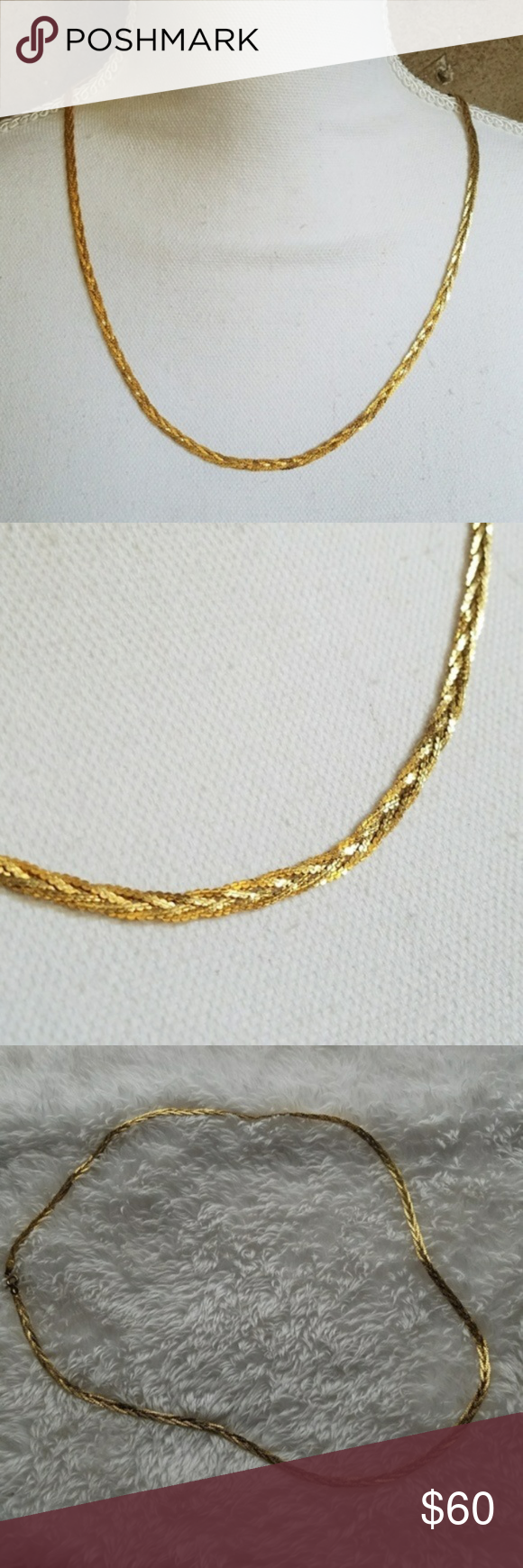 GOLD Italy 925 Vermeil Braided Chain Necklace Lovely 24