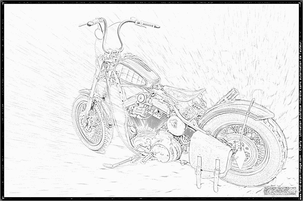 Dibujos para colorear y pintar Harley Davidson Chopper