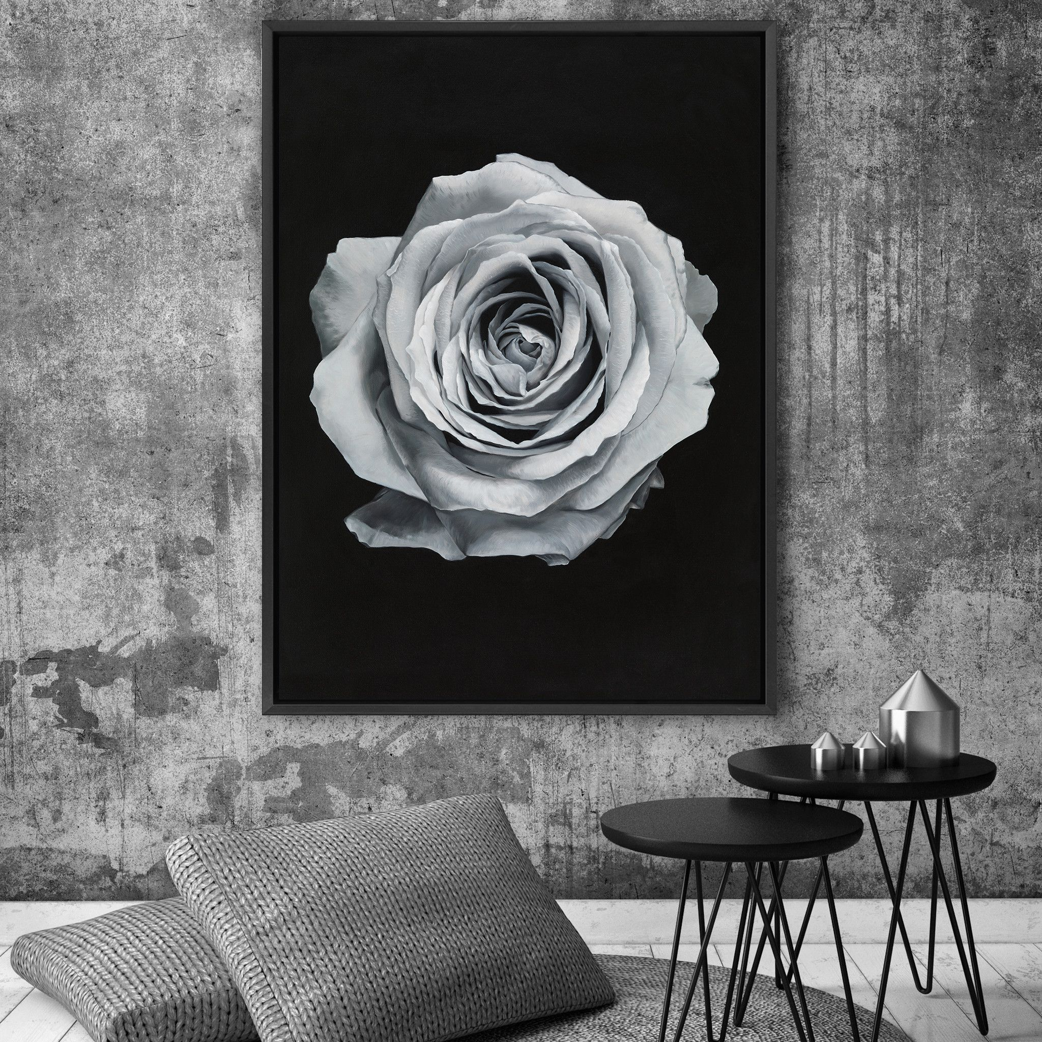Featuring An Isolated Silver Rose Set Against A Dramatic Black Background This Canvas Print Was Originally Hand Painted By Our In House Artist Team