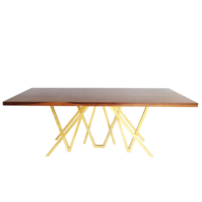 contemporary walnut golden blaze dining table by alex drew no one 2016