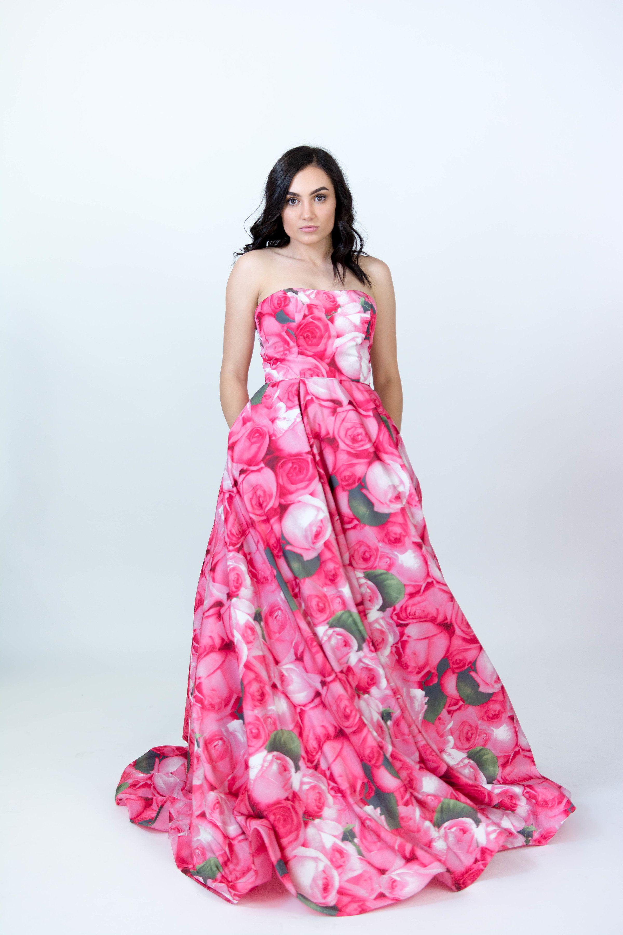 Sherri Hill Hot Pink Ballgown strapless floral print Ypsilon Dresses ...