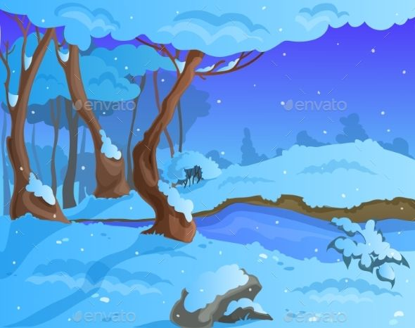 Cartoon Winter Background For A Game Art Winter Background Game Art Cartoon