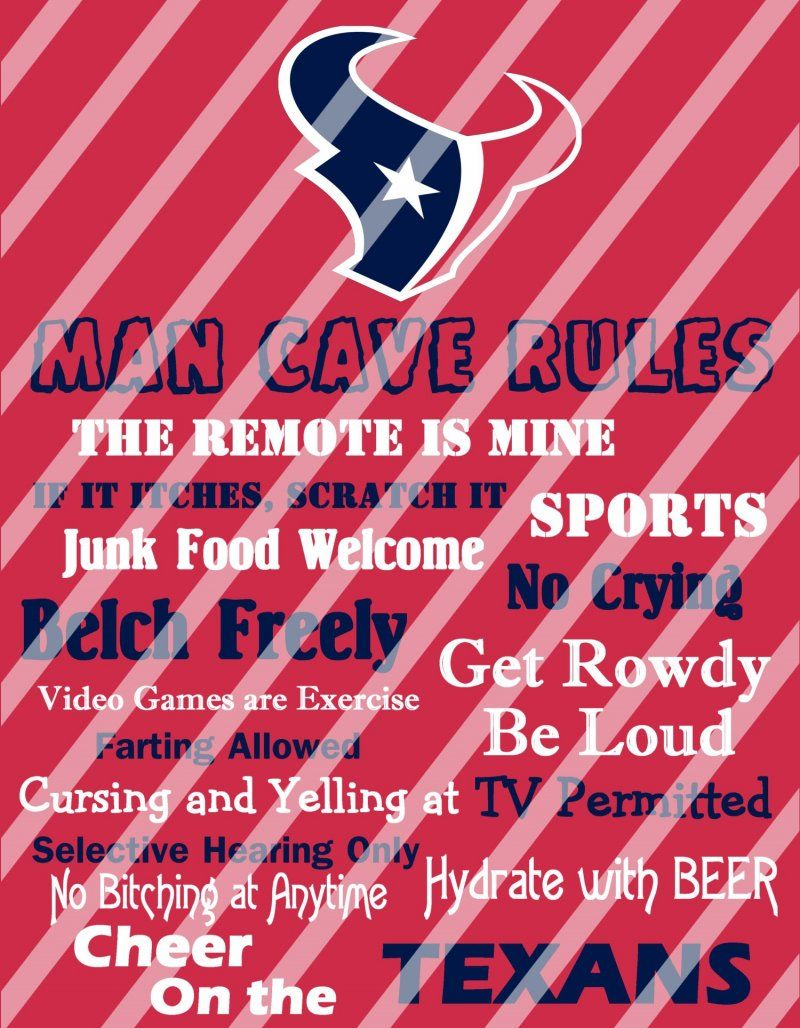 Houston Texans Man Cave Rules Wall Decor Sign Digital Or Photo Print