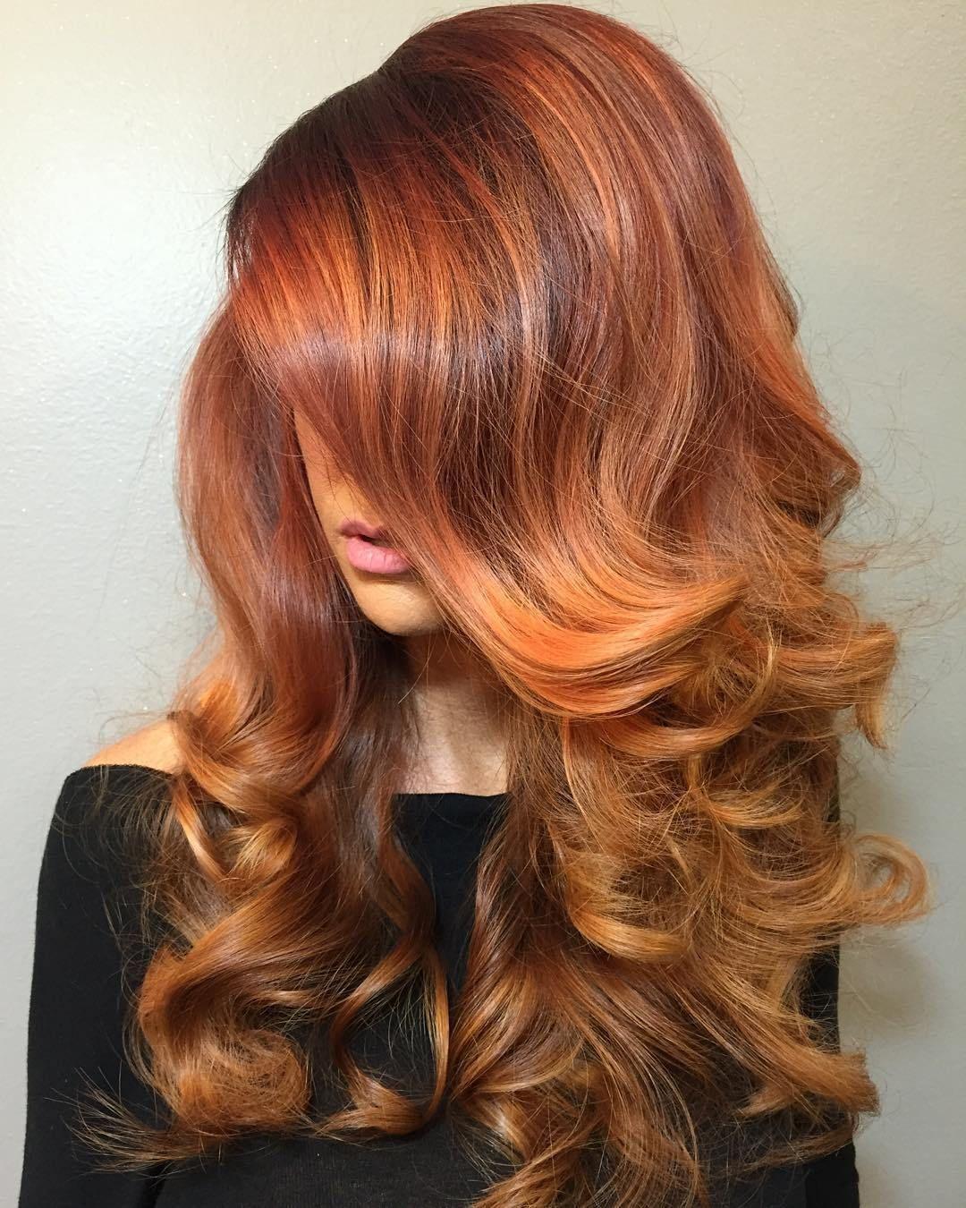 Long+Copper+Balayage+Hair