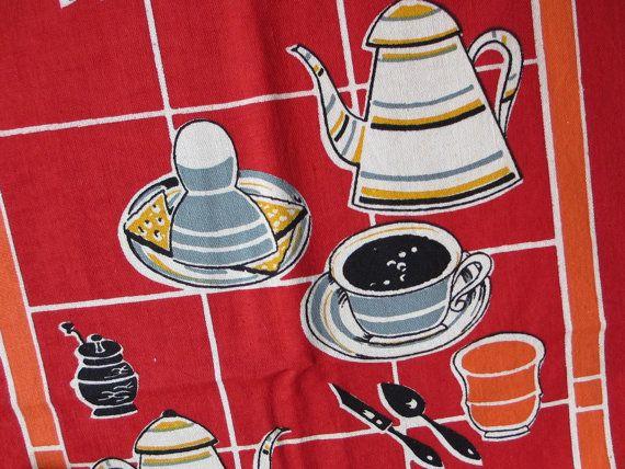 Breakfast. Fabulous vtg kitchen toweling / fabric by fuzzandfu