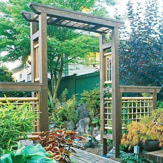 interessante Gartengestaltung Holz-Pergola-asiatischer Stil Front - gartengestaltung mit holz
