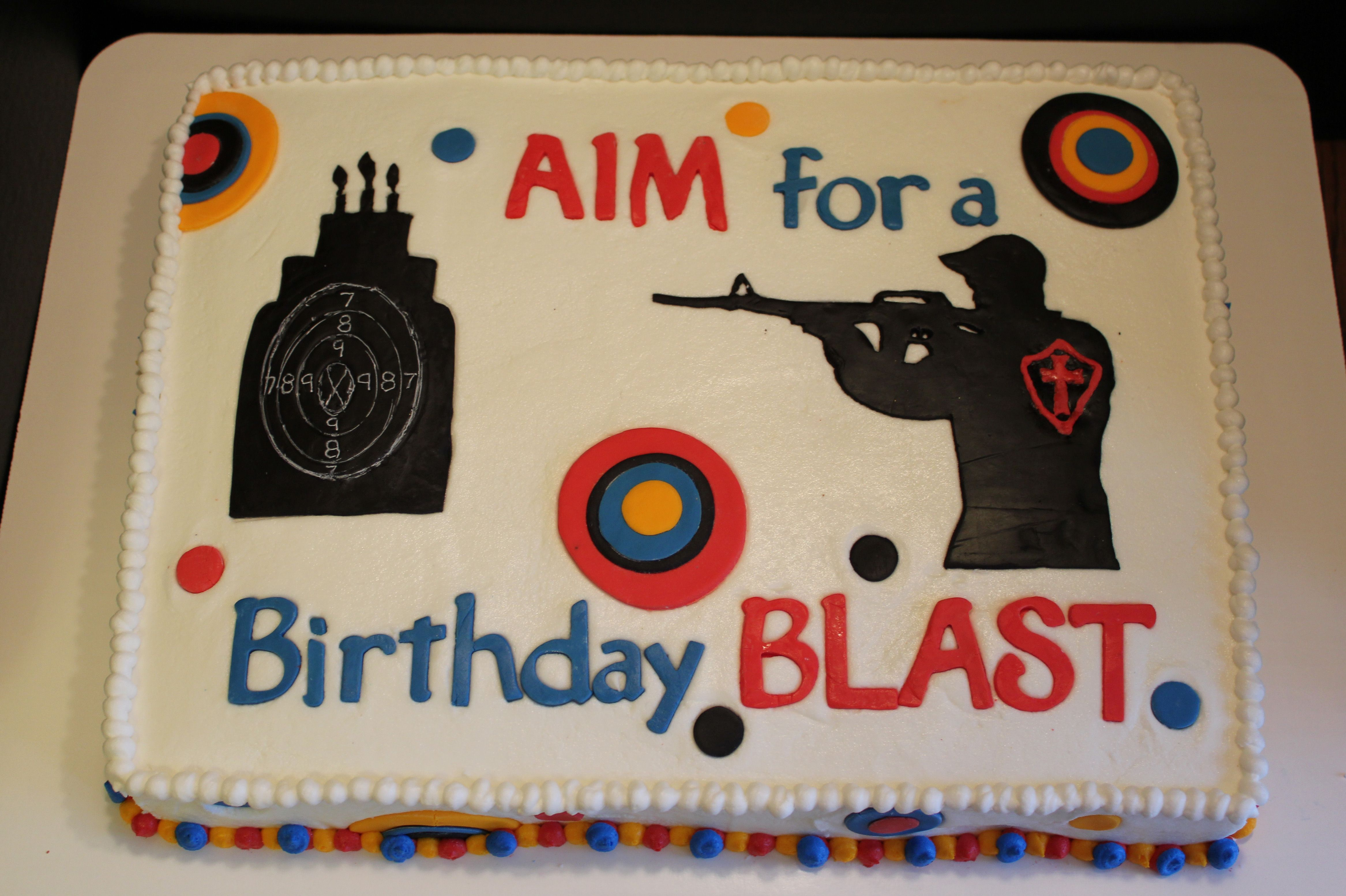 Awesome Target Shooting Cake I Must Give Corriecakes Credit I Copied One Personalised Birthday Cards Veneteletsinfo