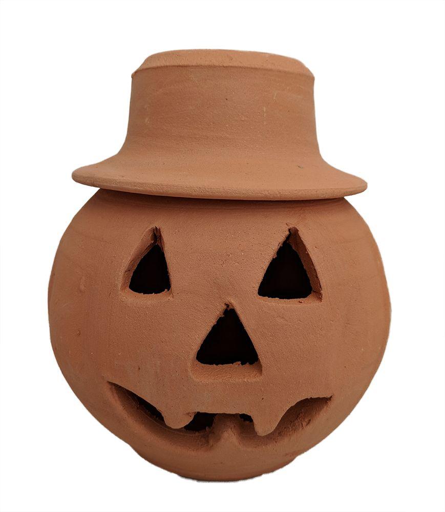 Terracotta Pumpkin Pot With Hat Handmade Quart Size 8 X 6 1 2 Hirt S Gardens Halloween Home Decor Handmade Terracotta