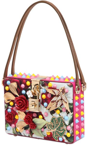 bc2bfdcb8050 Dolce   Gabbana Dolce Mamma Embellished Brocade Bag in Multicolor (MULTI)