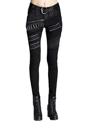 343e43a8dee Minibee Women s Harem Patchwork Leather Pocket Punk Style Personalized Pants  Black 4 M Minibee http