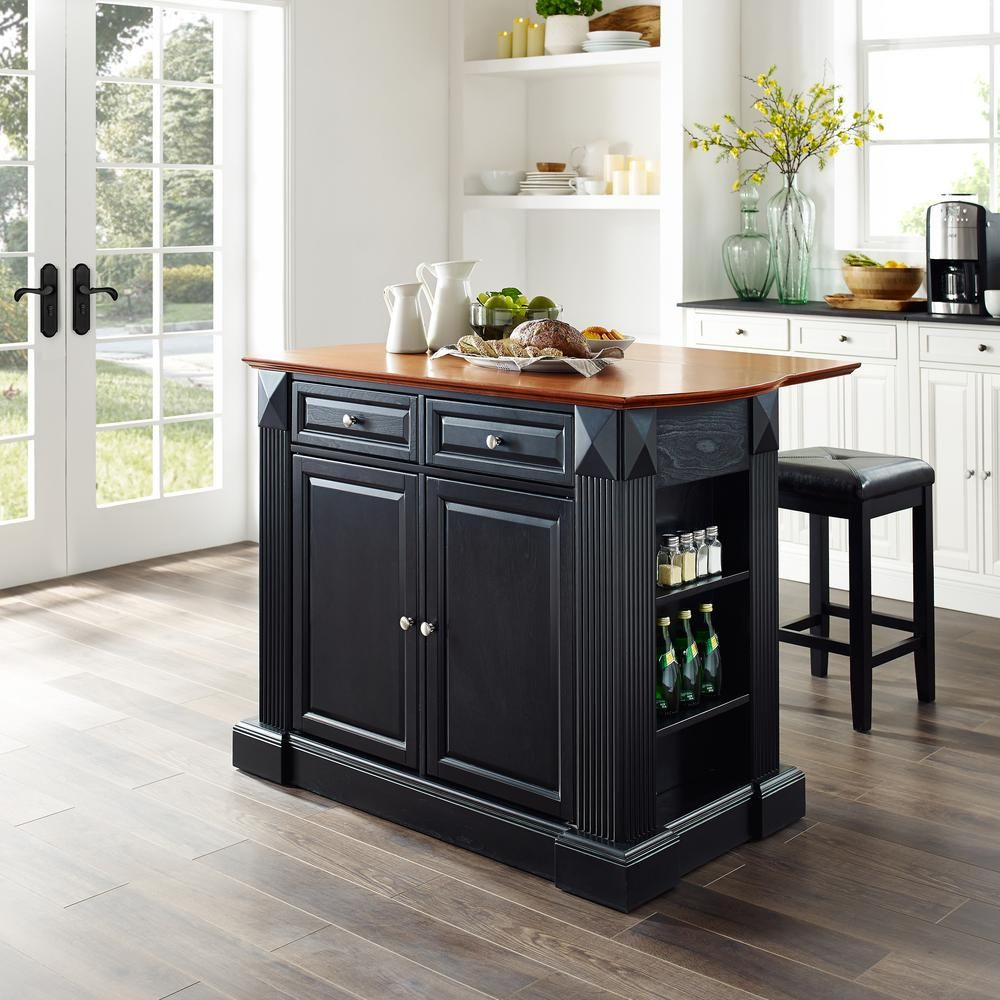 Crosley Furniture Coventry Black Kitchen Island With Square Seat Stools Kf300075bk The Home Depot In 2020 Kitchen Island With Butcher Block Top Black Kitchen Island Solid Wood Kitchen Cabinets