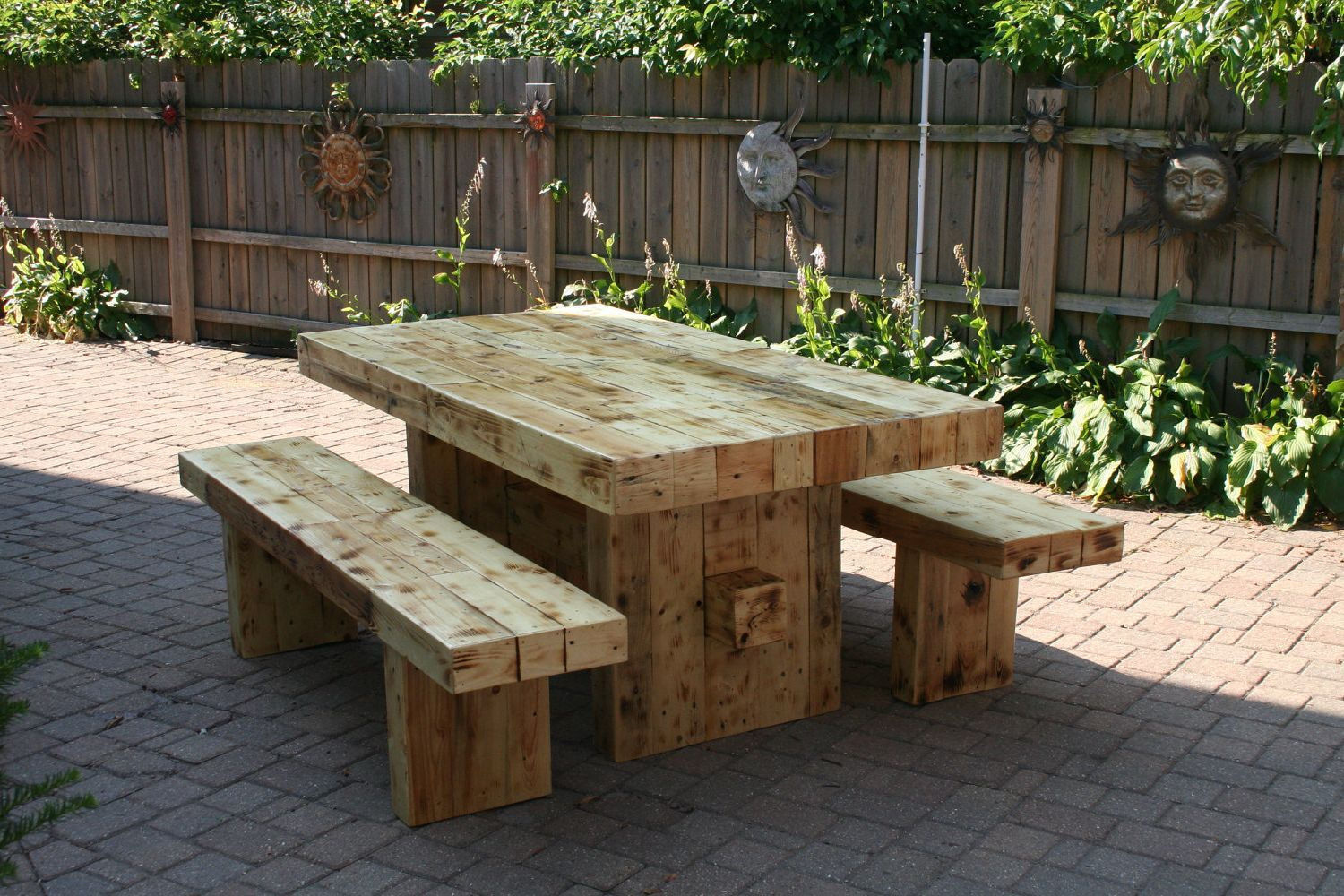 Delightful Wooden Garden Seat With Table Part - 6: Garden-and-patio-large-and-long-diy-rustic-solid-wood-picnic-table-with -detached-bench-seat-made-from-reclaimed-wood-ideas-picnic-bench -picnic-bencu2026