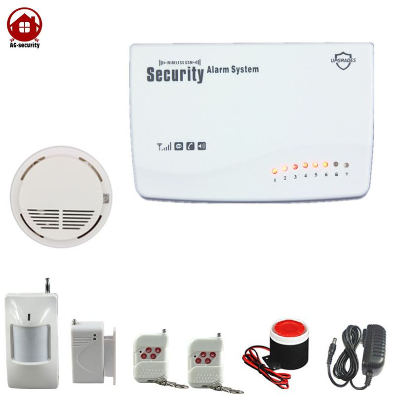 Wireless Home Office Shop GSM SMS Smoke Detecter Fire Alarm Security System  Remote Control Free Shipping