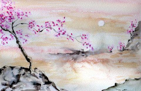 paysage du japon peinture maryjo dessins pinterest peinture japon et paysage. Black Bedroom Furniture Sets. Home Design Ideas