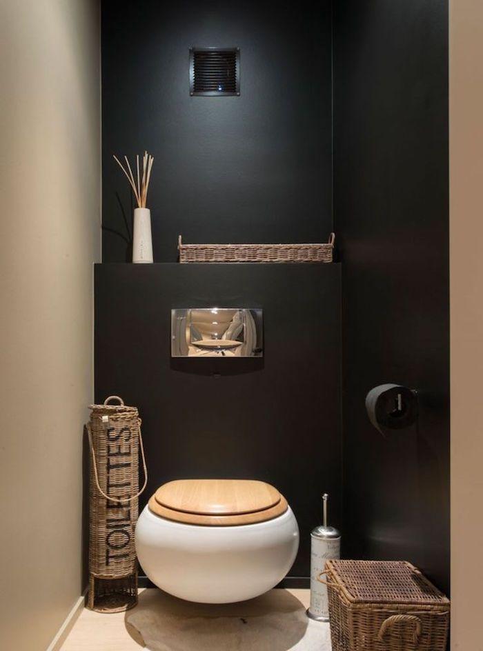 idee deco wc sobre et zen avec murs noir et beige et toilette rond ...