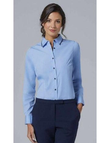 b8478994d6 Camisa manga larga azul cielo con azul marino