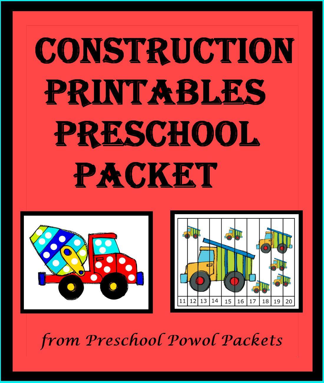 Construction Preschool Packet 3 Day Freebie