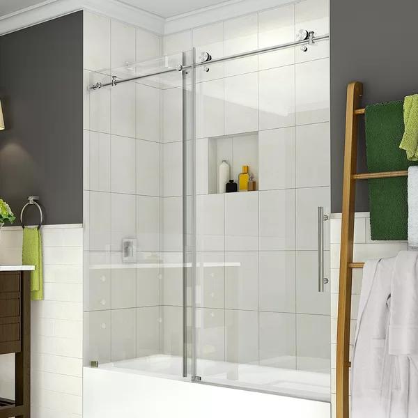 Coraline 60 X 60 Single Sliding Frameless Tub Door Tub Doors Shower Doors Sliding Shower Door