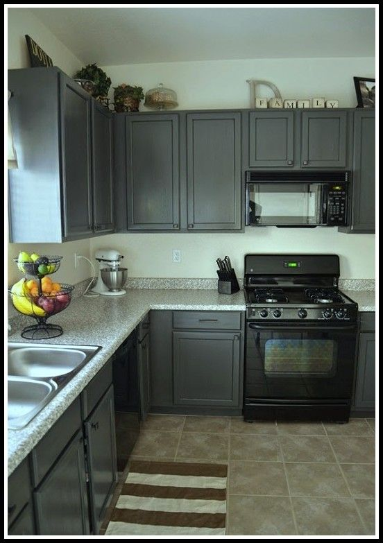 Gray Kitchen Cabinets With Black Appliances In Kitchen
