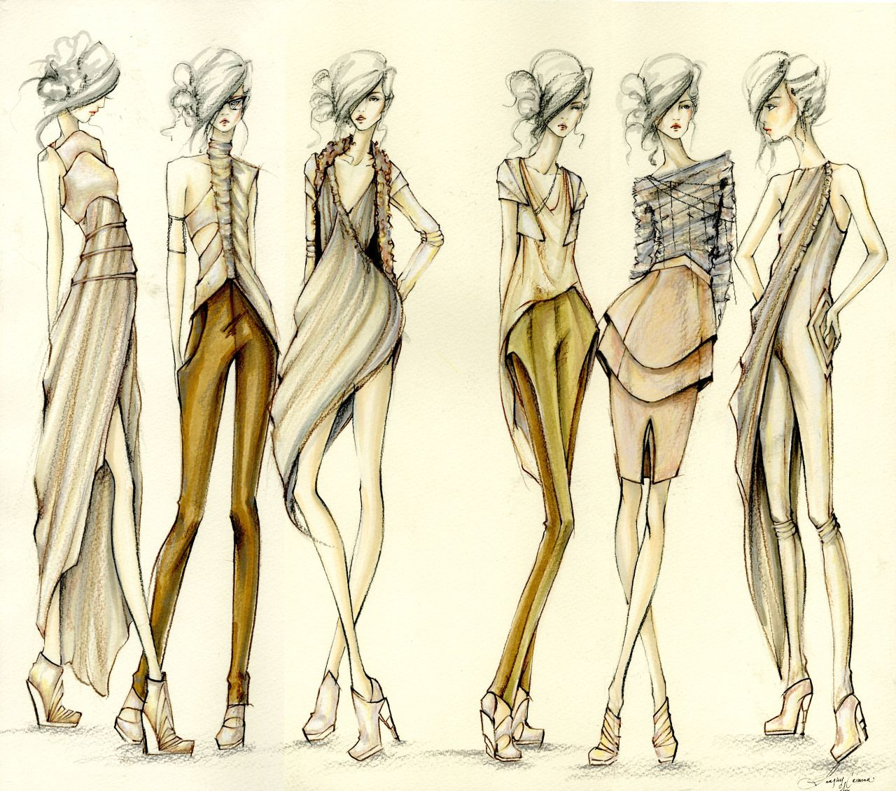 Langley Fox Hemingway super chic fashion design illustrations, style drawings