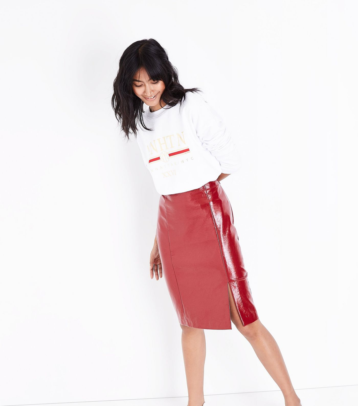 6f544dc93 Red Leather Skirt New Look