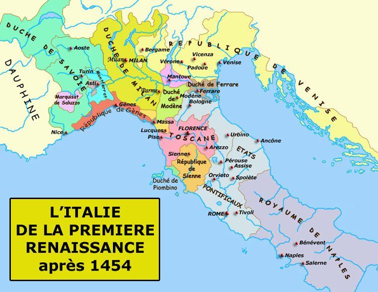Carte de l'Italie de la première Renaissance, après le traité de