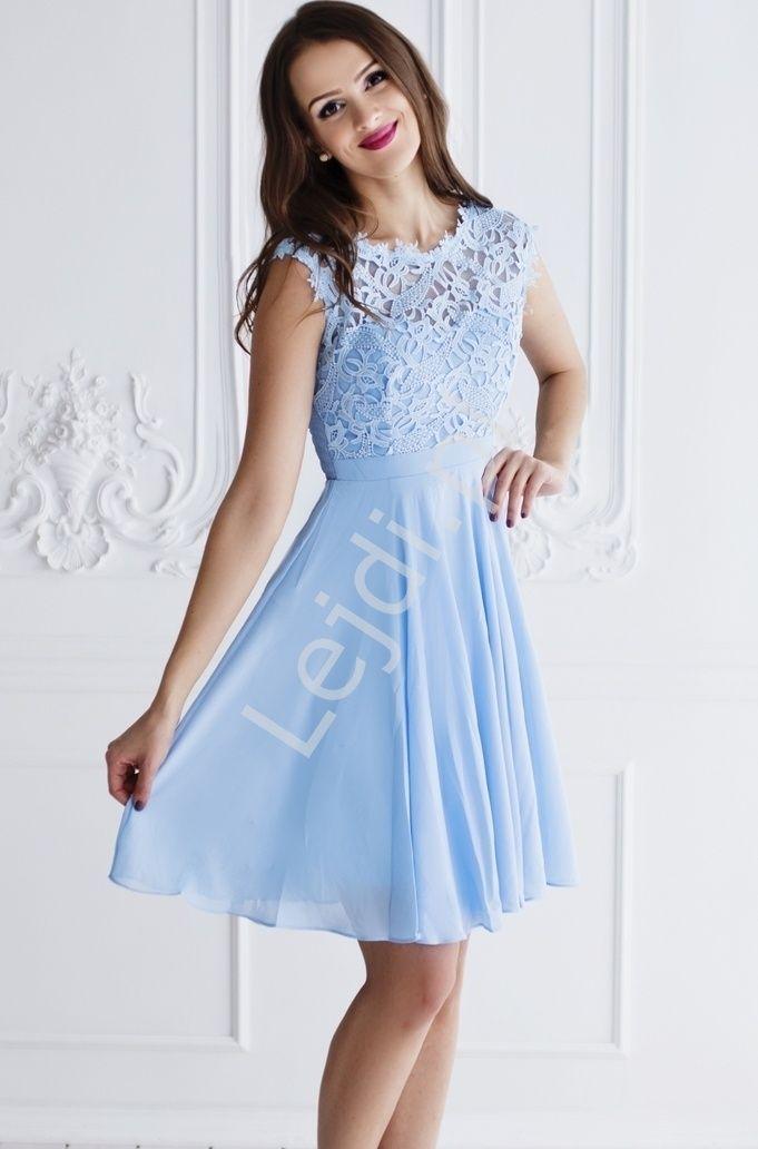 Blekitna Szyfonowa Sukienka Na Wesela Chrzciny Bal Gimnazjalny Z Koronka Na Studniowki 1271 3 Dresses Fashion Doll Dress