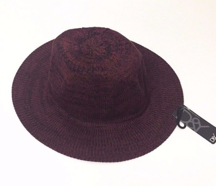 6085ed36 Women's Fashionable Floppy Wide Brim Fedora Cap Panama Hat Wine/Black Size M