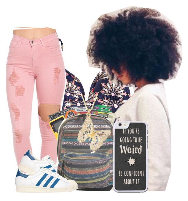 """""""Confidently Weird"""" by thailyn-nicole ❤ liked on Polyvore featuring OndadeMar, adidas Originals and Ross-Simons"""