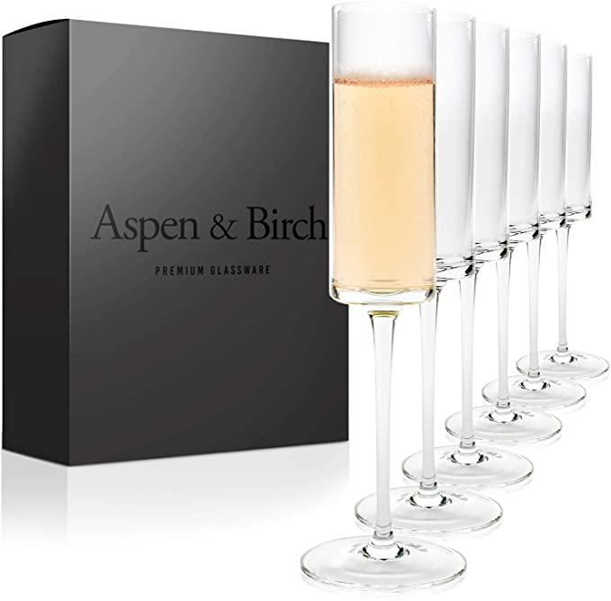 Amazon Com Aspen Birch Modern Champagne Flutes Set Of 6 Champagne Glasses Mimosa G In 2020 Modern Champagne Flutes Glass Champagne Flutes Champagne Flute Set