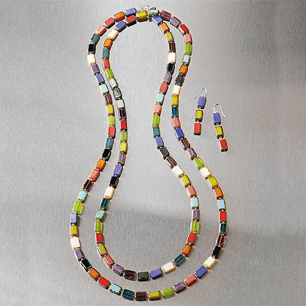 Multi-Style Rainbow Glass Necklace and Earrings