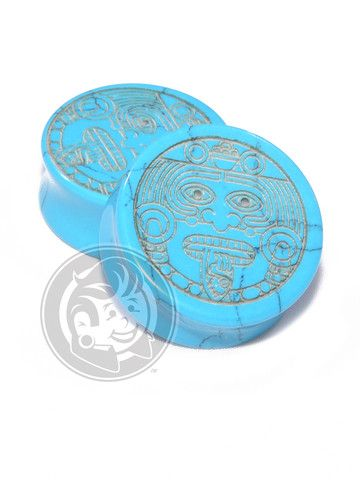 Aztec Face Engraved Turquoise Plugs - Plug Your Holes - Your Lifestyle, Since 2006.